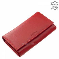 Kiváló belső elrendezésű, nagy méretű, piros színű elegáns női bőr pénztárca, mely divatos kiegészítő és bőséges helyet kínál a tárolásra.