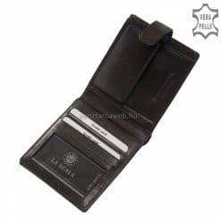 Külső átkapcsoló pánttal zárható, kártyatartós, fekete színű prémium férfi bőr pénztárca valódi bőrből készítve, díszdobozba csomagolva.
