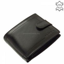 Exkluzív LA SCALA márkájú férfi bőr pénztárca minőségi bőrből, átkapcsoló füllel, elegáns fekete színben divatos külsővel. Díszdobozban!