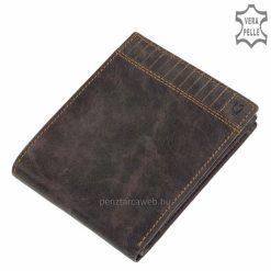 Egyedi koptatott hatású valódi bőrből, fedelén dekoratív dupla tűzéses dizájnnal készített divatos barna színű férfi bőr pénztárca.