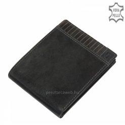 Egyedi koptatott hatású valódi bőrből, fedelén dekoratív dupla tűzéses dizájnnal készített divatos fekete színű férfi bőr pénztárca.