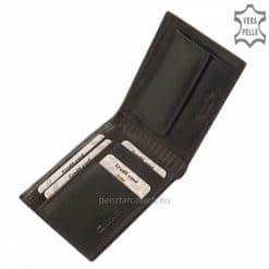 Giultieri márkájú, férfi divat bőr pénztárca, igazi bőrből készült, fekete felülete koptatott hatású, így a tárca különleges külsőt kapott.