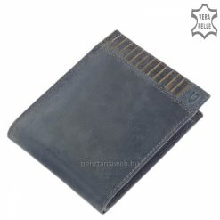 Egyedi koptatott hatású valódi bőrből, fedelén dekoratív dupla tűzéses dizájnnal készített divatos kék színű férfi bőr pénztárca.