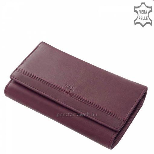Első osztályú minőségi bőrből készült nagy méretű, lila színű női bőr pénztárca, szolid ugyanakkor rendkívül nőies megjelenéssel.