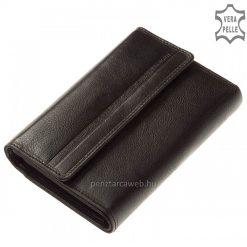 Prémium kategóriás, karakteres jellegű valódi bőrből kiváló minőségben gyártott fekete kis méretű női bőr pénztárca. Díszdobozos.