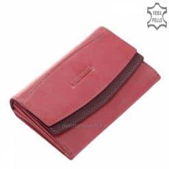 Igazán nőies kialakítású patenttal zárható dupla fedéllel rendelkező divatos pink színű, valódi bőr női pénztárca. Válassza ajándékba is!