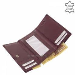 SBelmonte kis méretű, valódi bőr női pénztárca klasszikus nőies lila színárnyalatban és kiemelkedően minőségi kialakításban.