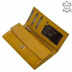 Kiváló minőségű és nagy méretű kilakítása miatt hasznos funkciókkal ellátott, valódi bőrből gyártott elegáns mustár színű női bőr pénztárca.