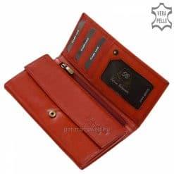 Kiváló minőségű és nagy méretű kilakítása miatt hasznos funkciókkal ellátott, valódi bőrből gyártott elegáns piros színű női bőr pénztárca.