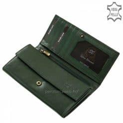 Kiváló minőségű és klasszikus kialakítása miatt hasznos funkciókkal ellátott, dekoratív és elegáns sötétzöld színű női bőr pénztárca.