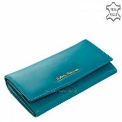 Kiváló minőségű és klasszikus kialakítása miatt hasznos funkciókkal ellátott, dekoratív és elegáns türkizkék színű női bőr pénztárca.