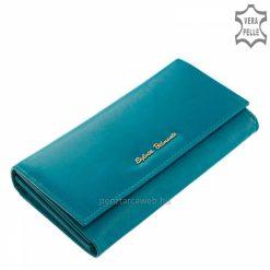 Minőségi kivitelben készült valódi bőr felhasználásával gyártott klasszikus női pénztárca türkizkék színben a Sylvia Belmonte márkacsaládból.