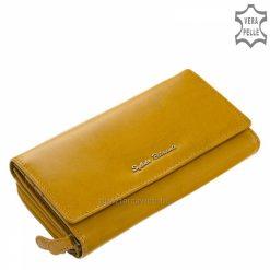 Minőségi valódi bőr női pénztárca mustár színben klasszikus belső kialakítással, nagy méretű praktikus belsővel rendelkező termék.