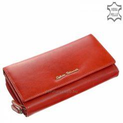 Minőségi valódi bőr női pénztárca piros színben klasszikus belső kialakítással, nagy méretű praktikus belsővel rendelkező termék.