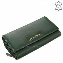 Minőségi valódi bőr női pénztárca sötétzöld színben klasszikus belső kialakítással, nagy méretű praktikus belsővel rendelkező termék.