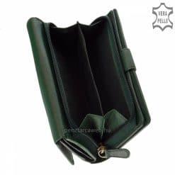 Valódi bőrből gyártott sötétzöld színű elegáns női bőr pénztárca, magas gyártási technológiával készült minőségi termék. Díszdobozos modell.