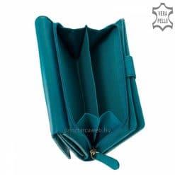 Valódi bőrből gyártott türkizkék színű elegáns női bőr pénztárca, magas gyártási technológiával készült minőségi termék. Díszdobozos modell.