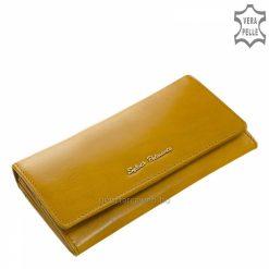 Kiváló valódi bőrből gyártott női divat bőr pénztárca, elegáns külsővel mustár színben és jól kihasználható belső funkciókkal tervezve.