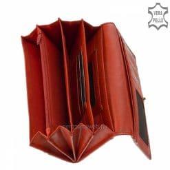 Kiváló valódi bőrből gyártott női divat bőr pénztárca, elegáns külsővel piros színben és jól kihasználható belső funkciókkal tervezve.