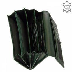 Kiváló valódi bőrből gyártott női divat bőr pénztárca, elegáns külsővel sötétzöld színben és jól kihasználható belső funkciókkal tervezve.