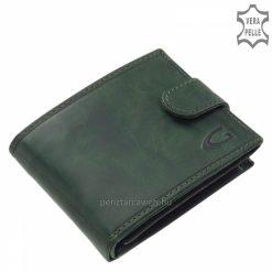 Klasszikus, akár farzsebben is hordható minőségi Giultieri divatos férfi bőr pénztárca, mely valódi bőrből készült zöld színben.