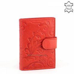 Virágmintás nyomással díszített, minőségi valódi marhabőrből készült piros színű női bőr kártyatartó, praktikus álló kivitelben, díszdobozban.