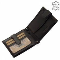 Puha tapintású, minőségi bőrből gyártott dekoratív férfi bőr pénztárca egyedi termék, mely fekete színben is kapható áruházunkban.