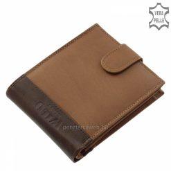 Puha tapintású minőségi valódi bőr felhasználásával gyártott divatos férfi pénztárca, melynek fedelét egyedi logó díszíti.