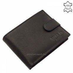 Biztonságos külső patentos átkapcsoló pánttal rendelkező klasszikus férfi bőr pénztárca, minőségi valódi bőrből készítve fekete színben.