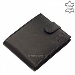 Valódi bőrből készült, divatos WILD BEAST felirattal ellátott díszdobozos férfi bőr pénztárca fekete színben, átkapcsoló pánttal zárható.