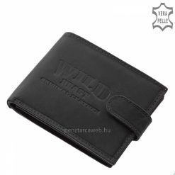 Valódi, úgynevezett vadászbőrből kikészített Wild Beast márkás divatos férfi bőr pénztárca fekete színben, mely átkapcsoló pánttal rögzíthető.