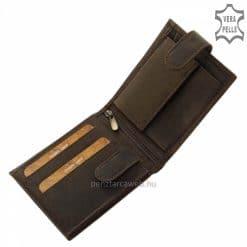 Kézbeillő, úgynevezett vadászbőrből kikészített Wild márkás minőségi bőr férfi pénztárca divatos barna színben. Díszdobozos termék.