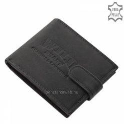 Kézbeillő, úgynevezett vadászbőrből kikészített Wild márkás minőségi bőr férfi pénztárca divatos fekete színben. Díszdobozos termék.