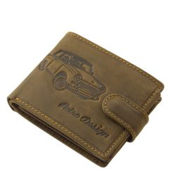 Egyedi autós mintával tervezett barna színű férfi bőr pénztárca valódi bőrből, a minőségi GreenDeed márkacsaládtól a retro autó kedvelőinek.