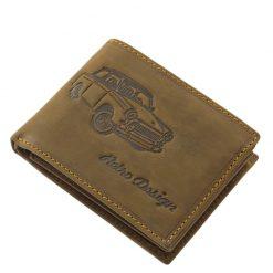 Egyedi megjelenésű, minőségi dizájnnal tervezett, barna színű mintás férfi bőr pénztárca, melyet főképp a retro autó kedvelőinek terveztünk.