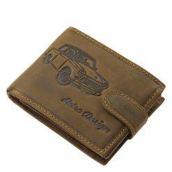 Különleges felületi dizájnnal tervezett, minőségi, valódi bőr pénztárca barna színben, melyet a retro autós stílus kedvelőinek terveztünk.
