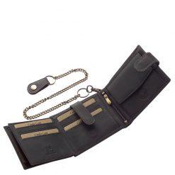 Minőségi felületi dizájnnal gyártott motoros férfi bőr pénztárca a GreenDeed márkacsalád egyik legújabb RFID terméke fekete színben.