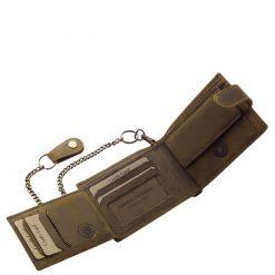 Magas minőségű, motoros mintával díszített, igazi marhabőrből gyártott férfi bőr pénztárca, mely GreenDeed márkás barna színű modell.