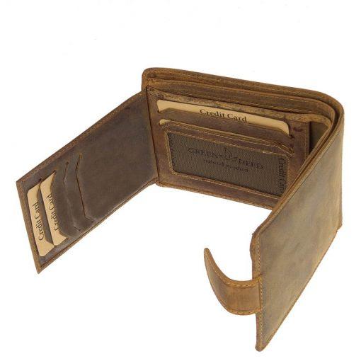 Valódi bőr felhasználásával gyártott barna színű, mintás férfi pénztárca modell, mely biztonságot nyújtó RFID védelemmel rendelkezik.