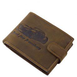 GreenDeed márkás minőségi valódi bőr autós férfi pénztárca, az amerikai autók szerelmeseinek tervezve barna színben. Díszdobozos tárca.