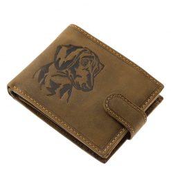 Kutyás férfi pénztárca modellünk, ez a modell egy natúr jellegű valódi bőr felhasználásával készült tacskó mintás férfi pénztárca.