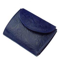 Minőségi és egyben dekoratív kisméretű női pénztárca kék színben, felületén igényesen kidolgozott inda- és virágnyomattal.