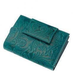 Egyedi kialakítású, minőségi valódi bőr felhasználásával készült női pénztárca türkiz színben, felületén dekoratív inda- és virágnyomattal.