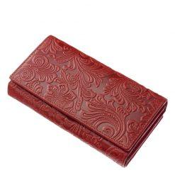 Egyedi és egyben divatos puha tapintású, valódi marha bőrből készített női pénztárca piros színben, külső felületén inda-, és virágmintázatal