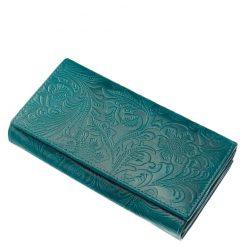 Egyedi és egyben divatos puha tapintású, valódi marha bőrből készített női pénztárca türkiz színben, külső felületén inda-, és virágmintázatal