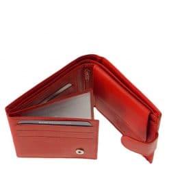 Piros színű valódi bőr felhasználásával készült kisméretű női pénztárca modelljeinek egyike, melyben biztonságban tudhatja értékeinket.
