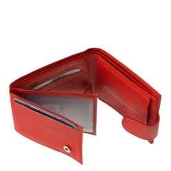 Finom tapintású piros színű valódi bőr női pénztárca, melyet azok számára ajánlunk, akik a kisméretű tárcákat részesítik előnyben.