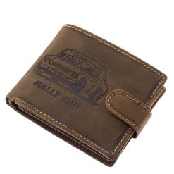 Karakteres barna színű minőségi valódi bőr felhasználásával gyártott, autós férfi pénztárca, melynek fedelén egy benyomott autó képe látható.