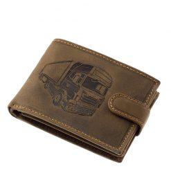 Különleges külsővel tervezett GreenDeed márkájú minőségi bőr férfi pénztárca kamion mintás benyomattal fedelén barna színben.