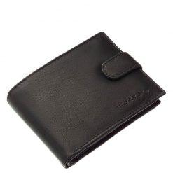 Rendkívül puha tapintású valódi nappa bőr felhasználásával készített elegáns férfi pénztárca fekete színben. Külső átkapcsoló pánttal készült